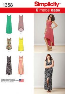 1358 Simplicity Pattern: Misses' Knit Dresses with Length and Neckline Variations